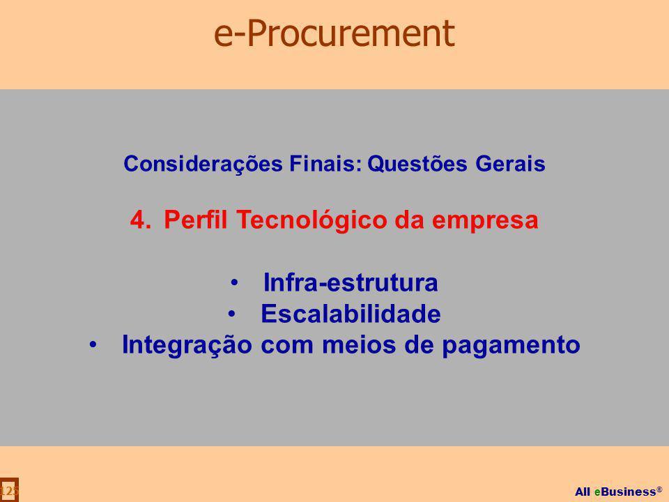 e-Procurement 4. Perfil Tecnológico da empresa Infra-estrutura