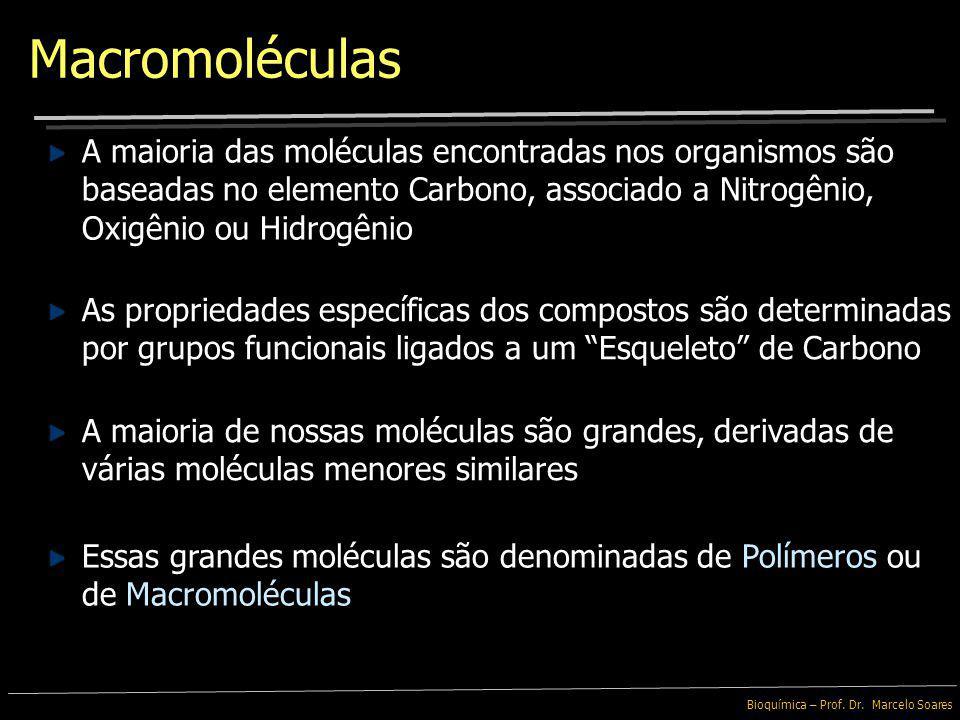 Macromoléculas A maioria das moléculas encontradas nos organismos são baseadas no elemento Carbono, associado a Nitrogênio, Oxigênio ou Hidrogênio.