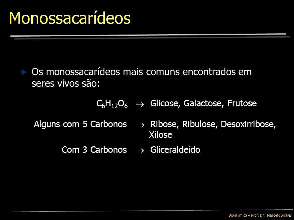 Monossacarídeos Os monossacarídeos mais comuns encontrados em seres vivos são: C6H12O6  Glicose, Galactose, Frutose.