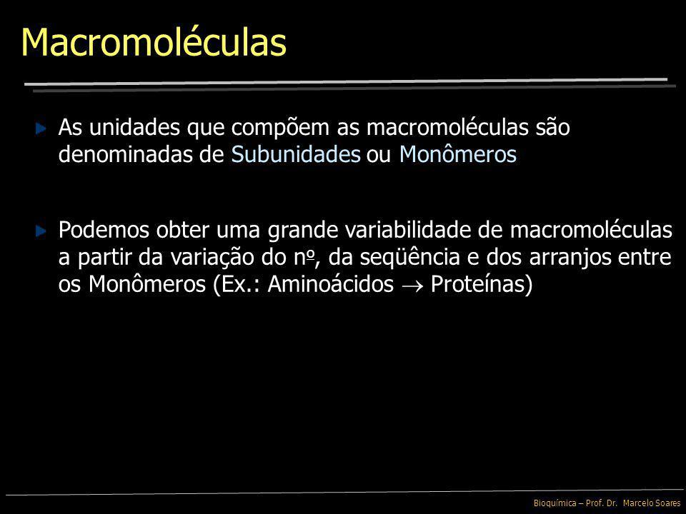 Macromoléculas As unidades que compõem as macromoléculas são denominadas de Subunidades ou Monômeros.