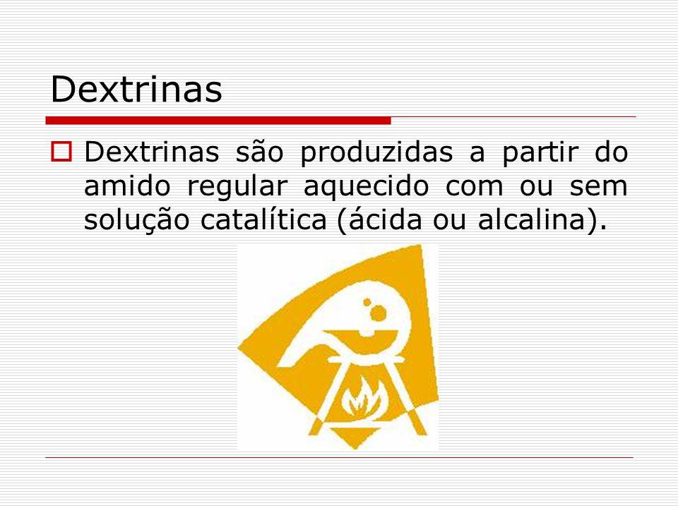Dextrinas Dextrinas são produzidas a partir do amido regular aquecido com ou sem solução catalítica (ácida ou alcalina).