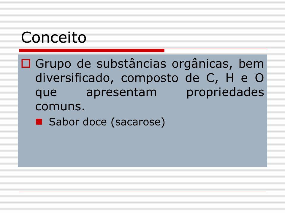 Conceito Grupo de substâncias orgânicas, bem diversificado, composto de C, H e O que apresentam propriedades comuns.