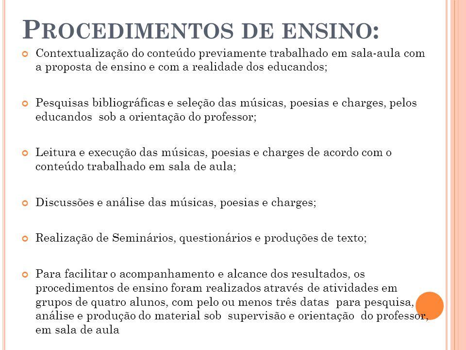 Procedimentos de ensino: