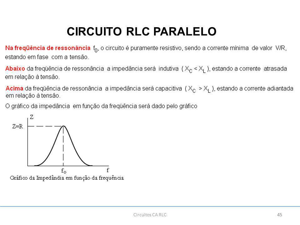 CIRCUITO RLC PARALELO Circuitos CA RLC 45