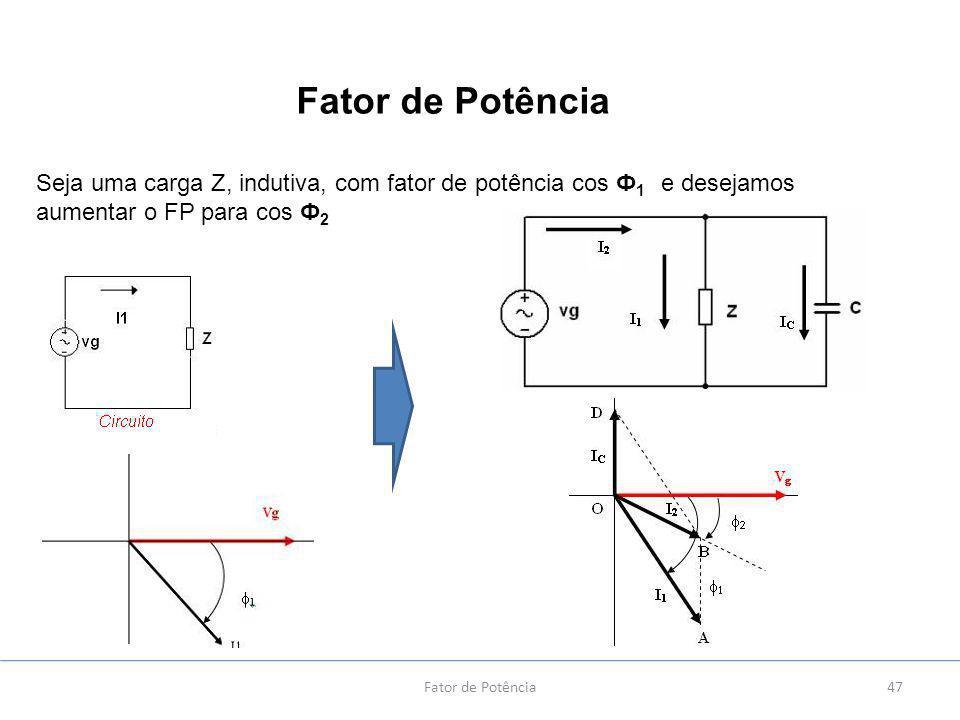 Fator de Potência Seja uma carga Z, indutiva, com fator de potência cos Ф1 e desejamos aumentar o FP para cos Ф2.