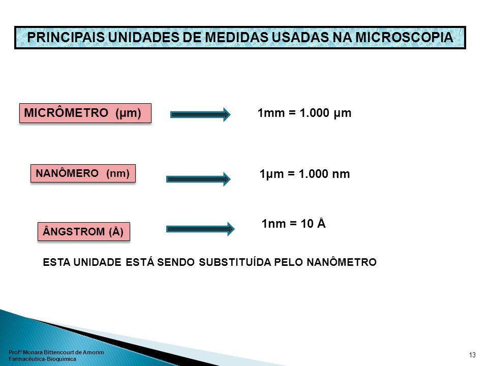 PRINCIPAIS UNIDADES DE MEDIDAS USADAS NA MICROSCOPIA