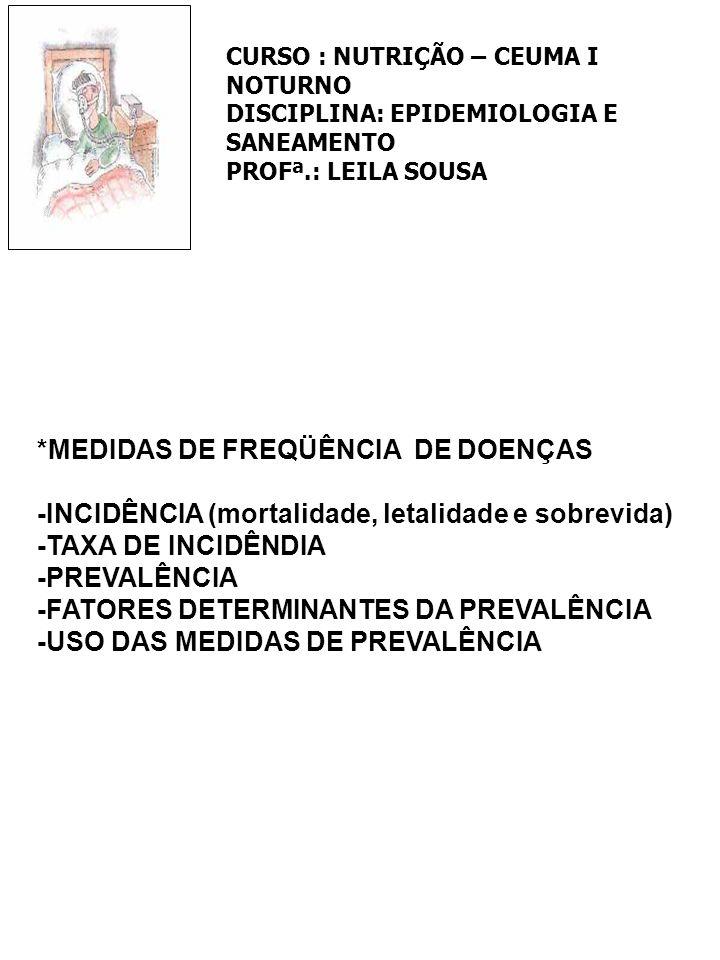 *MEDIDAS DE FREQÜÊNCIA DE DOENÇAS