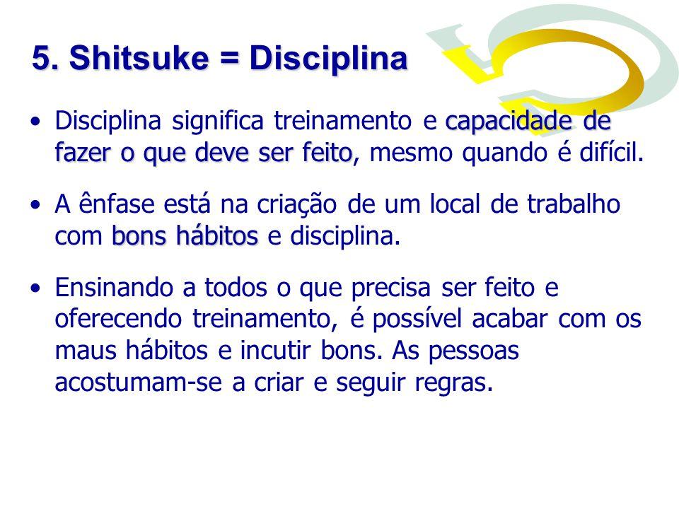 5. Shitsuke = Disciplina Disciplina significa treinamento e capacidade de fazer o que deve ser feito, mesmo quando é difícil.