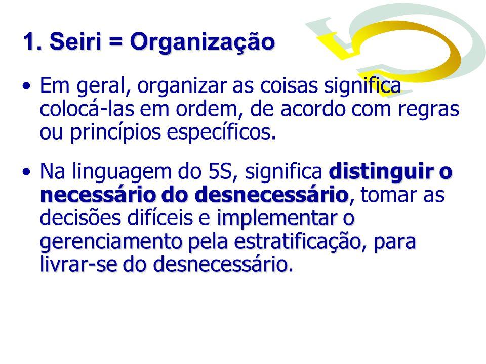 1. Seiri = Organização Em geral, organizar as coisas significa colocá-las em ordem, de acordo com regras ou princípios específicos.