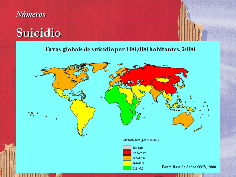 Taxas globais de suicídio por 100,000 habitantes, 2000