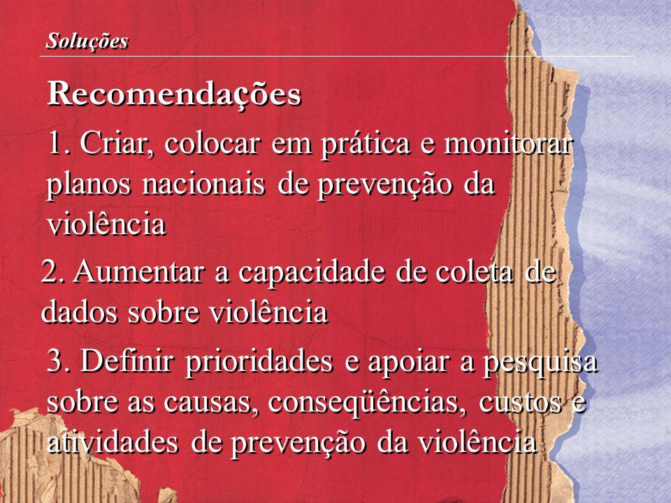 Soluções Recomendações. 1. Criar, colocar em prática e monitorar planos nacionais de prevenção da violência.