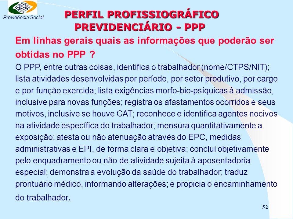 PERFIL PROFISSIOGRÁFICO PREVIDENCIÁRIO - PPP