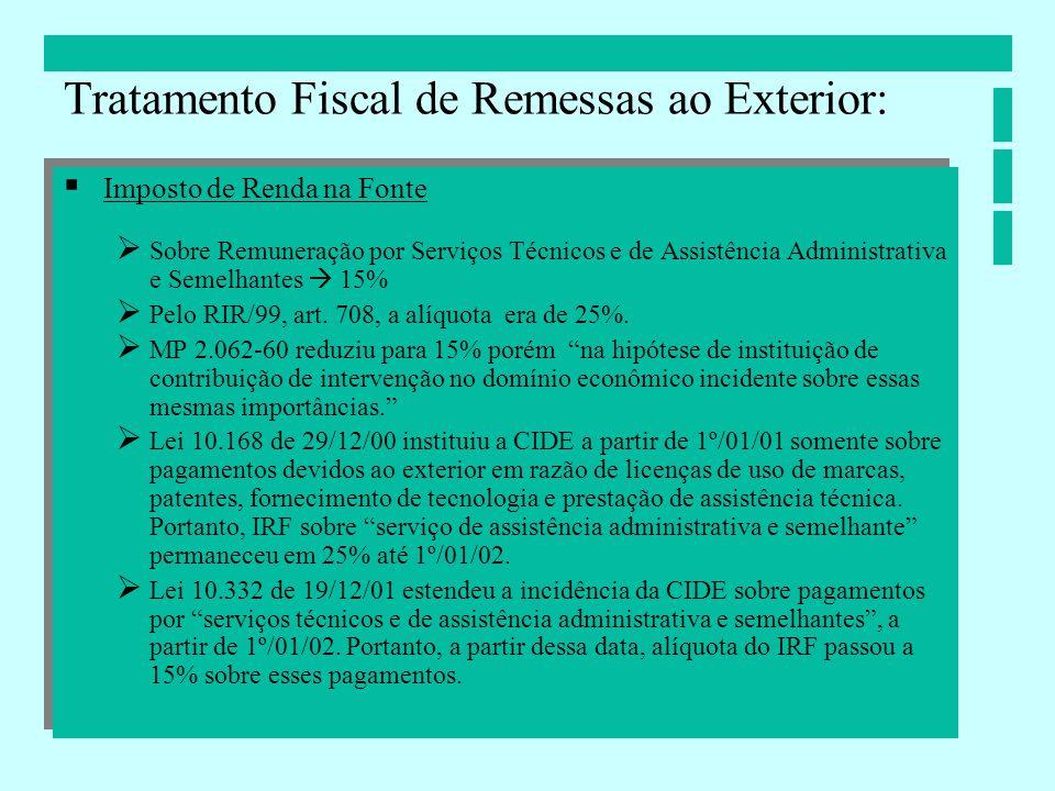 Tratamento Fiscal de Remessas ao Exterior: