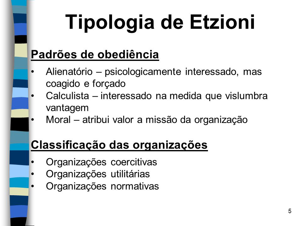 Tipologia de Etzioni Padrões de obediência