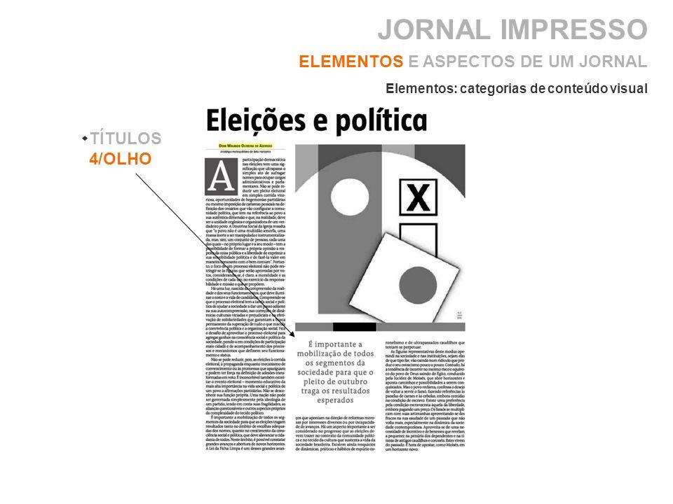 JORNAL IMPRESSO ELEMENTOS E ASPECTOS DE UM JORNAL TÍTULOS 4/OLHO