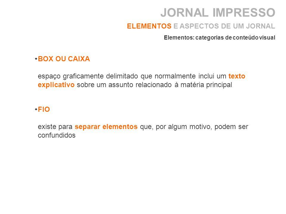 JORNAL IMPRESSO ELEMENTOS E ASPECTOS DE UM JORNAL BOX OU CAIXA