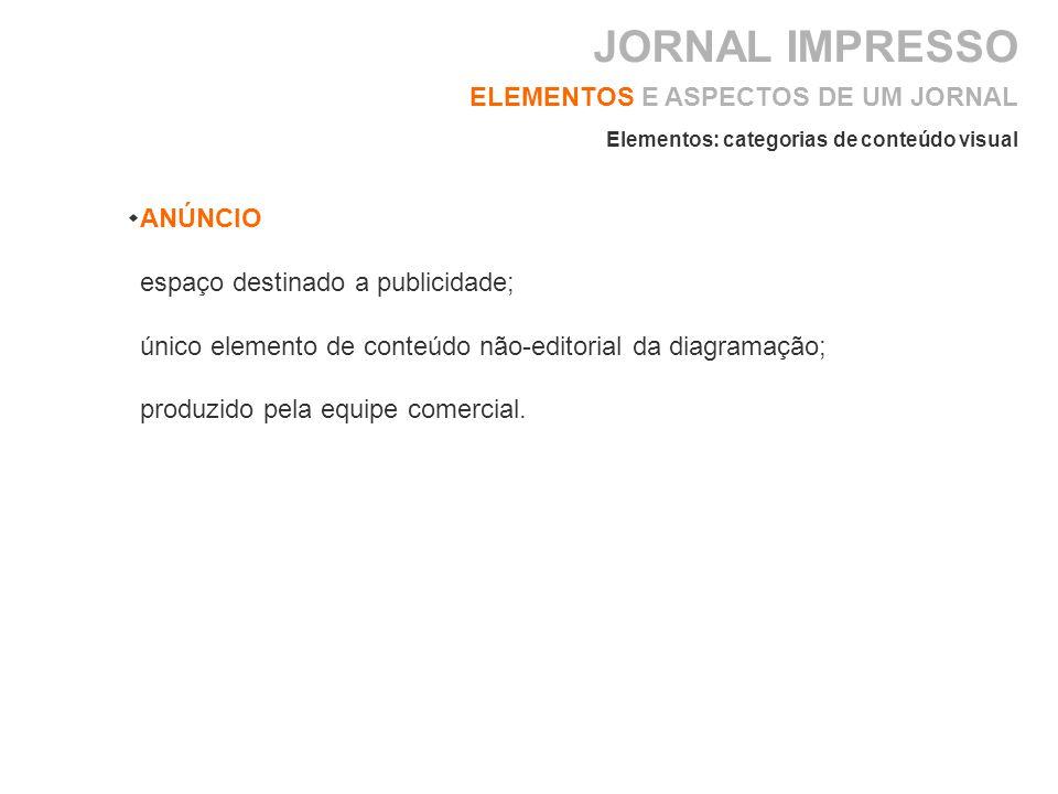JORNAL IMPRESSO ELEMENTOS E ASPECTOS DE UM JORNAL ANÚNCIO