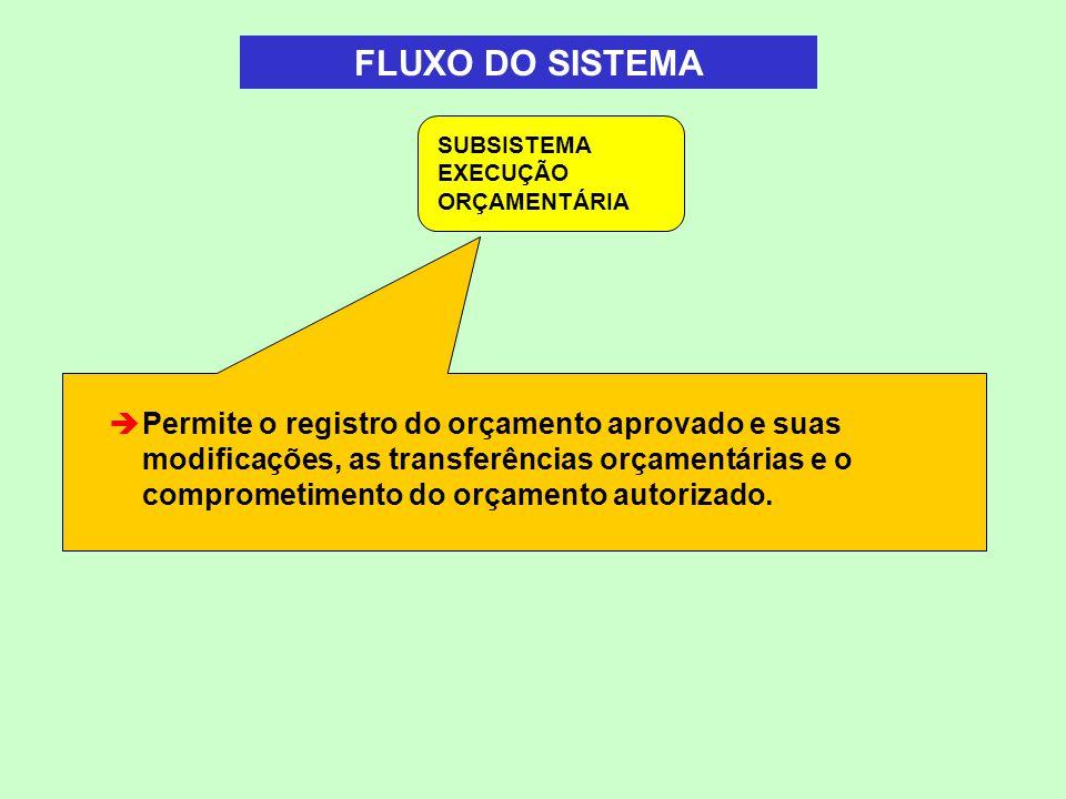 FLUXO DO SISTEMA SUBSISTEMA EXECUÇÃO ORÇAMENTÁRIA.