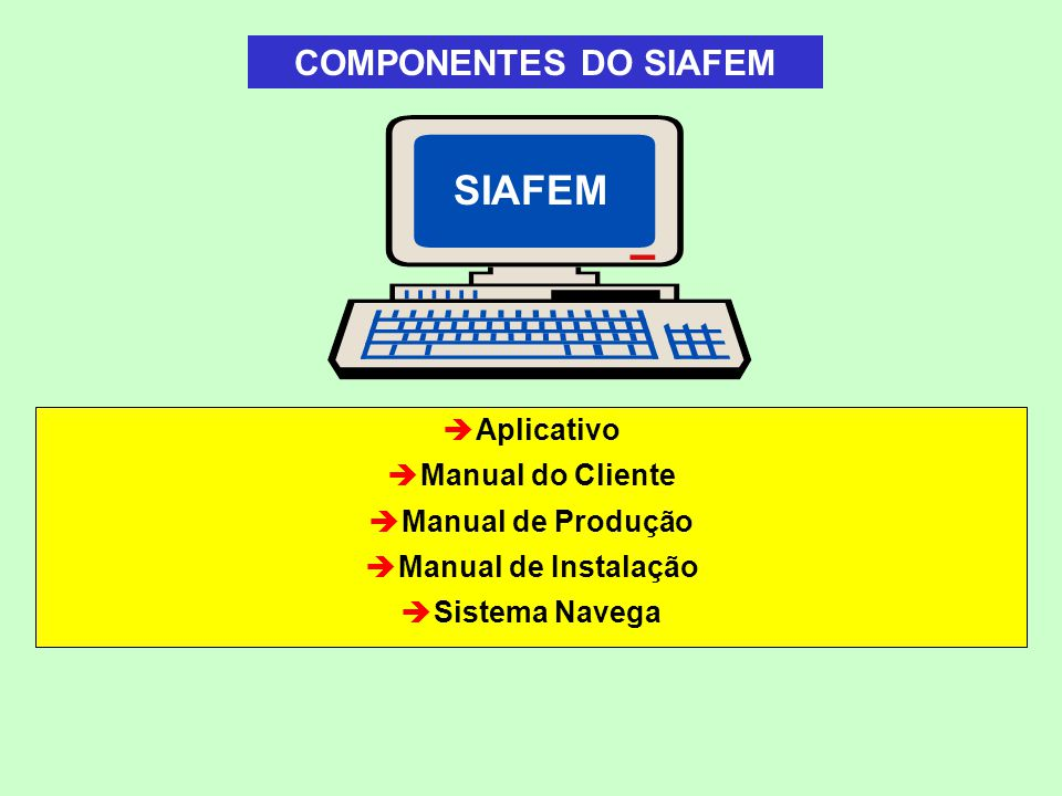 SIAFEM COMPONENTES DO SIAFEM Aplicativo Manual do Cliente