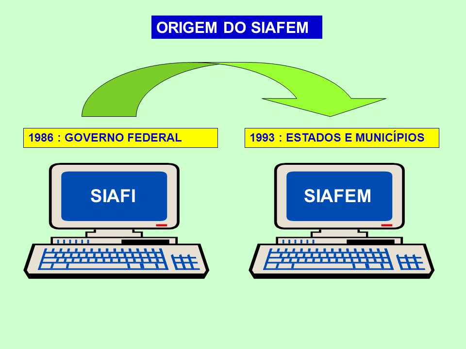 SIAFI SIAFEM ORIGEM DO SIAFEM 1986 : GOVERNO FEDERAL