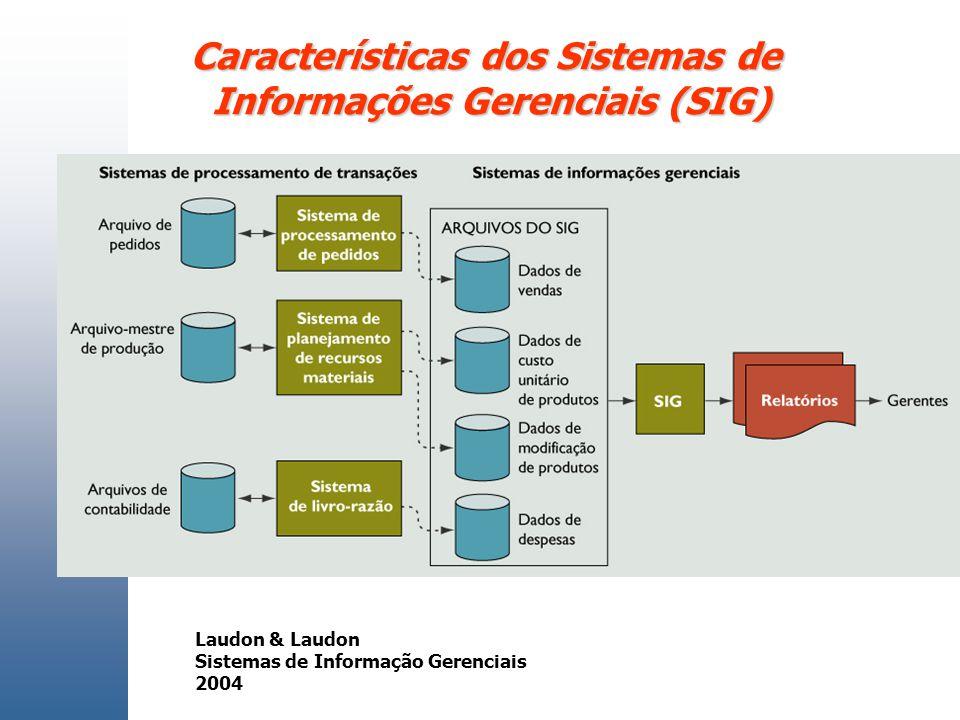 Características dos Sistemas de Informações Gerenciais (SIG)