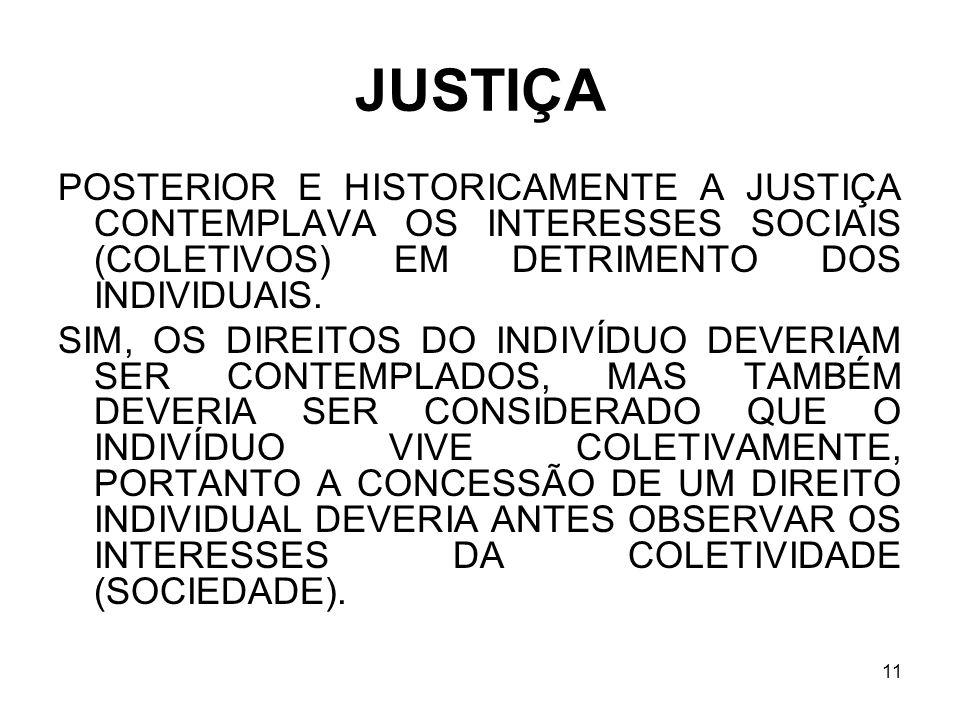 JUSTIÇA POSTERIOR E HISTORICAMENTE A JUSTIÇA CONTEMPLAVA OS INTERESSES SOCIAIS (COLETIVOS) EM DETRIMENTO DOS INDIVIDUAIS.