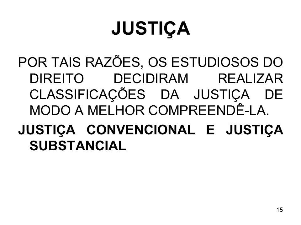 JUSTIÇA POR TAIS RAZÕES, OS ESTUDIOSOS DO DIREITO DECIDIRAM REALIZAR CLASSIFICAÇÕES DA JUSTIÇA DE MODO A MELHOR COMPREENDÊ-LA.