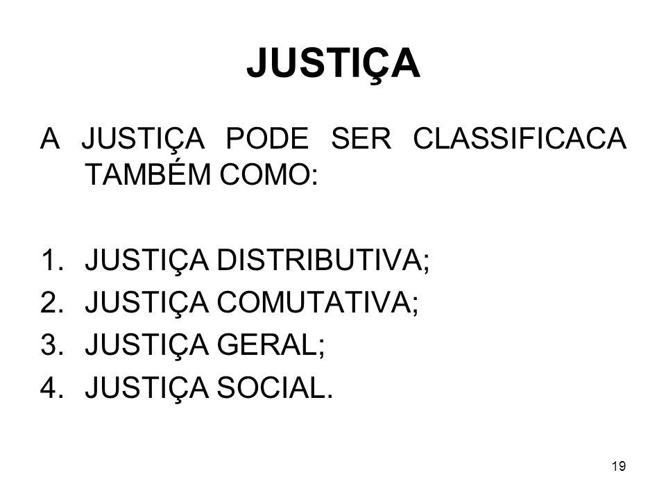 JUSTIÇA A JUSTIÇA PODE SER CLASSIFICACA TAMBÉM COMO: