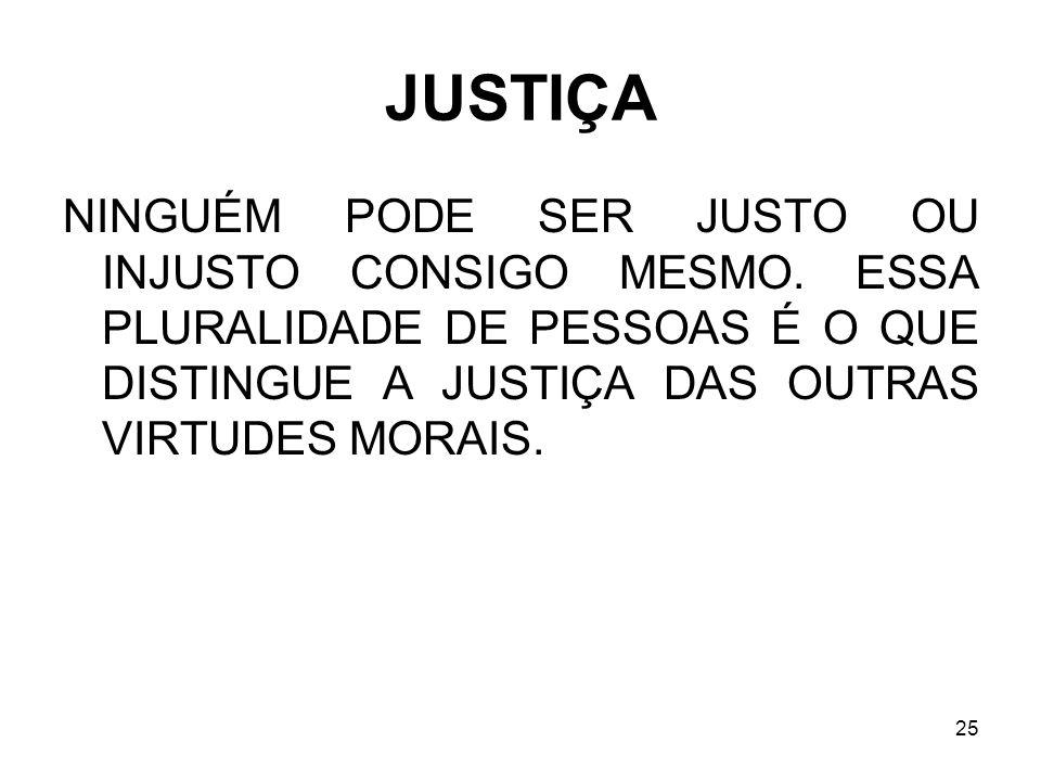 JUSTIÇA NINGUÉM PODE SER JUSTO OU INJUSTO CONSIGO MESMO.