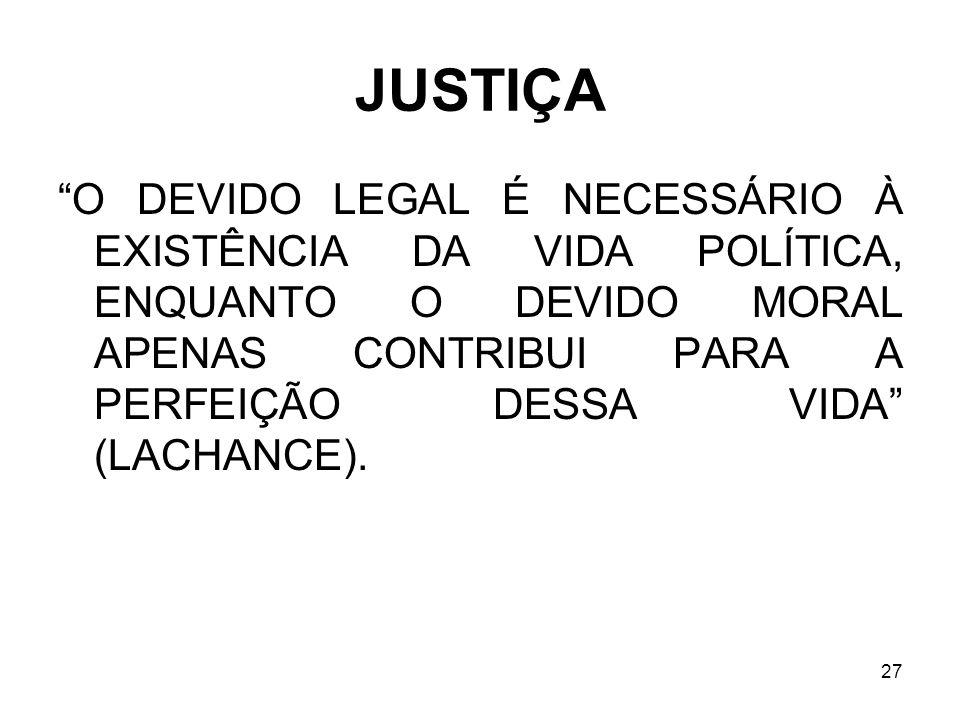 JUSTIÇA O DEVIDO LEGAL É NECESSÁRIO À EXISTÊNCIA DA VIDA POLÍTICA, ENQUANTO O DEVIDO MORAL APENAS CONTRIBUI PARA A PERFEIÇÃO DESSA VIDA (LACHANCE).