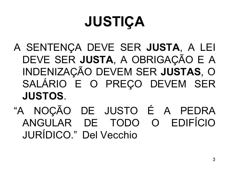JUSTIÇA A SENTENÇA DEVE SER JUSTA, A LEI DEVE SER JUSTA, A OBRIGAÇÃO E A INDENIZAÇÃO DEVEM SER JUSTAS, O SALÁRIO E O PREÇO DEVEM SER JUSTOS.
