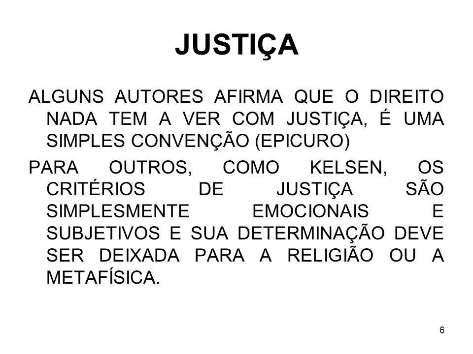 JUSTIÇA ALGUNS AUTORES AFIRMA QUE O DIREITO NADA TEM A VER COM JUSTIÇA, É UMA SIMPLES CONVENÇÃO (EPICURO)