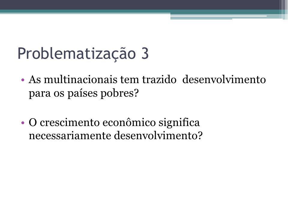 Problematização 3 As multinacionais tem trazido desenvolvimento para os países pobres