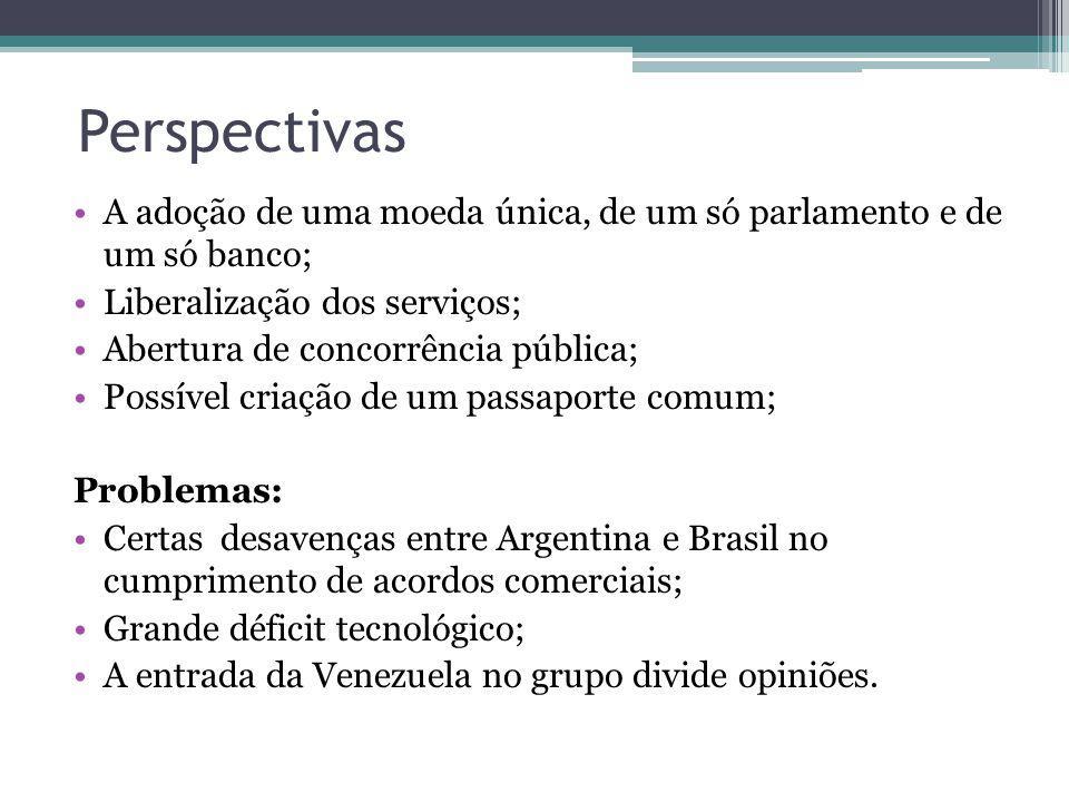 Perspectivas A adoção de uma moeda única, de um só parlamento e de um só banco; Liberalização dos serviços;