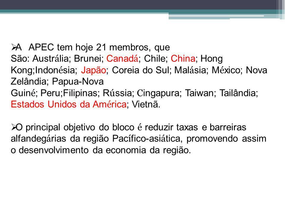 A APEC tem hoje 21 membros, que São: Austrália; Brunei; Canadá; Chile; China; Hong Kong;Indonésia; Japão; Coreia do Sul; Malásia; México; Nova Zelândia; Papua-Nova Guiné; Peru;Filipinas; Rússia; Cingapura; Taiwan; Tailândia;