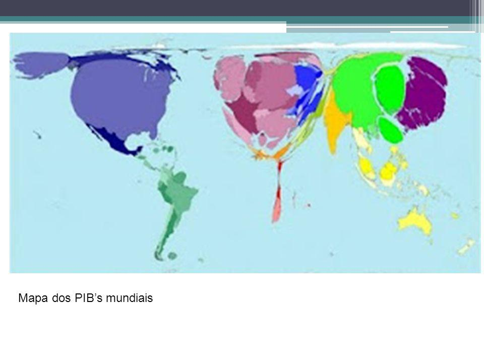 Mapa dos PIB's mundiais
