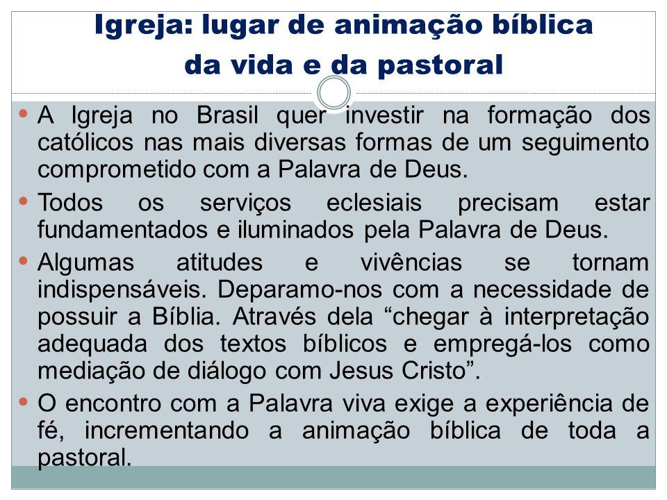Igreja: lugar de animação bíblica