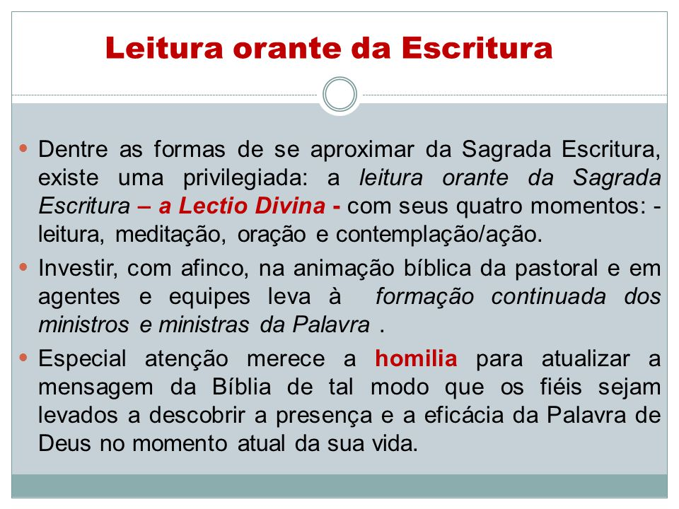 Leitura orante da Escritura