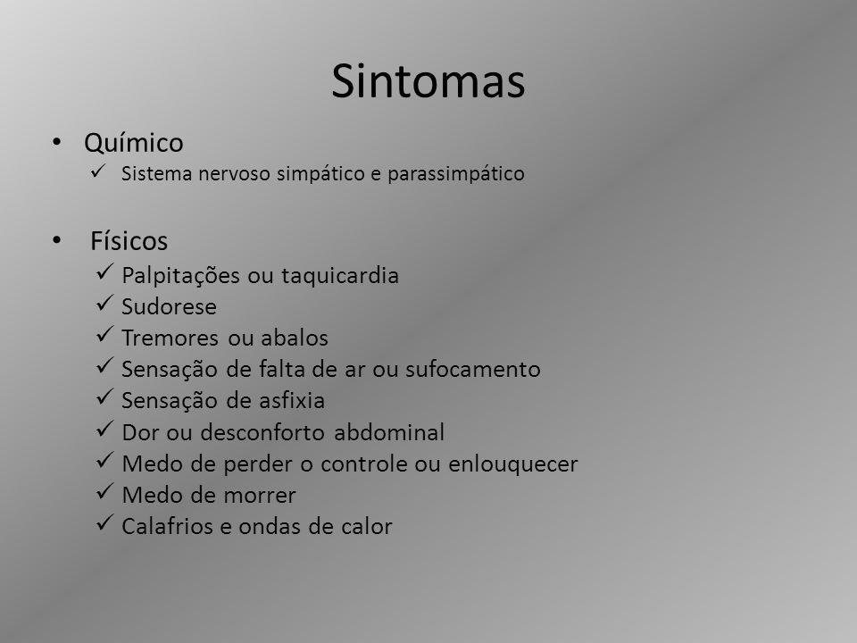 Sintomas Químico Físicos Palpitações ou taquicardia Sudorese