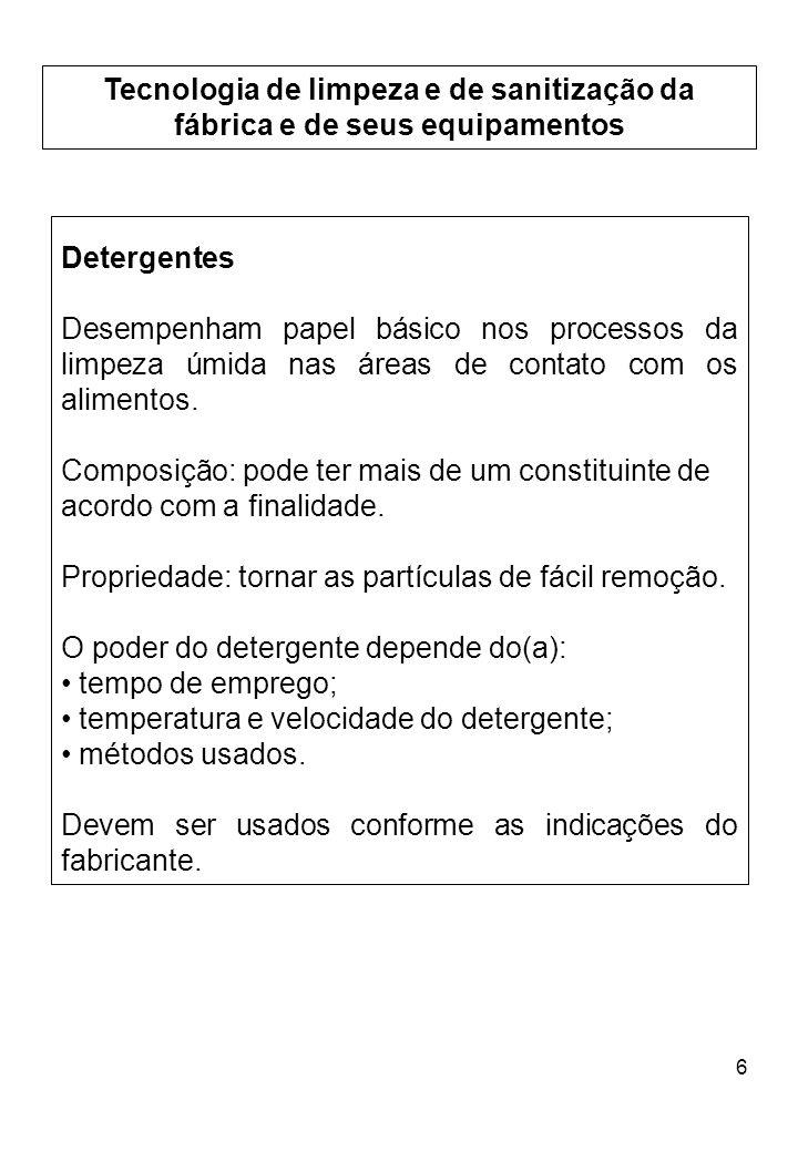 Tecnologia de limpeza e de sanitização da fábrica e de seus equipamentos