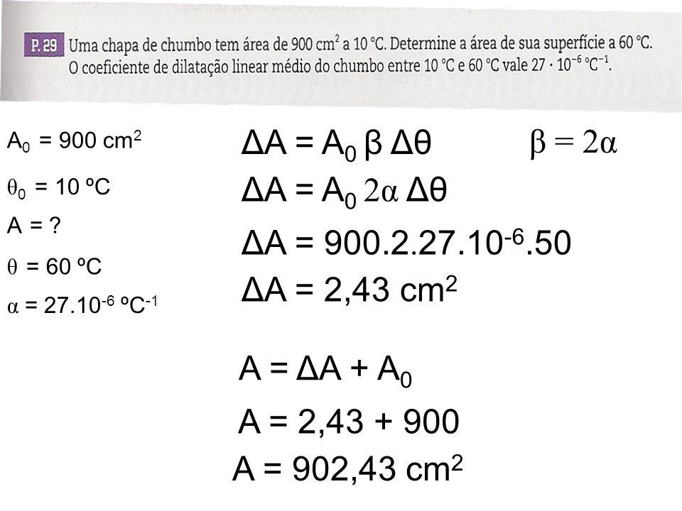 ΔA = A0 β Δθ β = 2α ΔA = A0 2α Δθ ΔA = 900.2.27.10-6.50 ΔA = 2,43 cm2