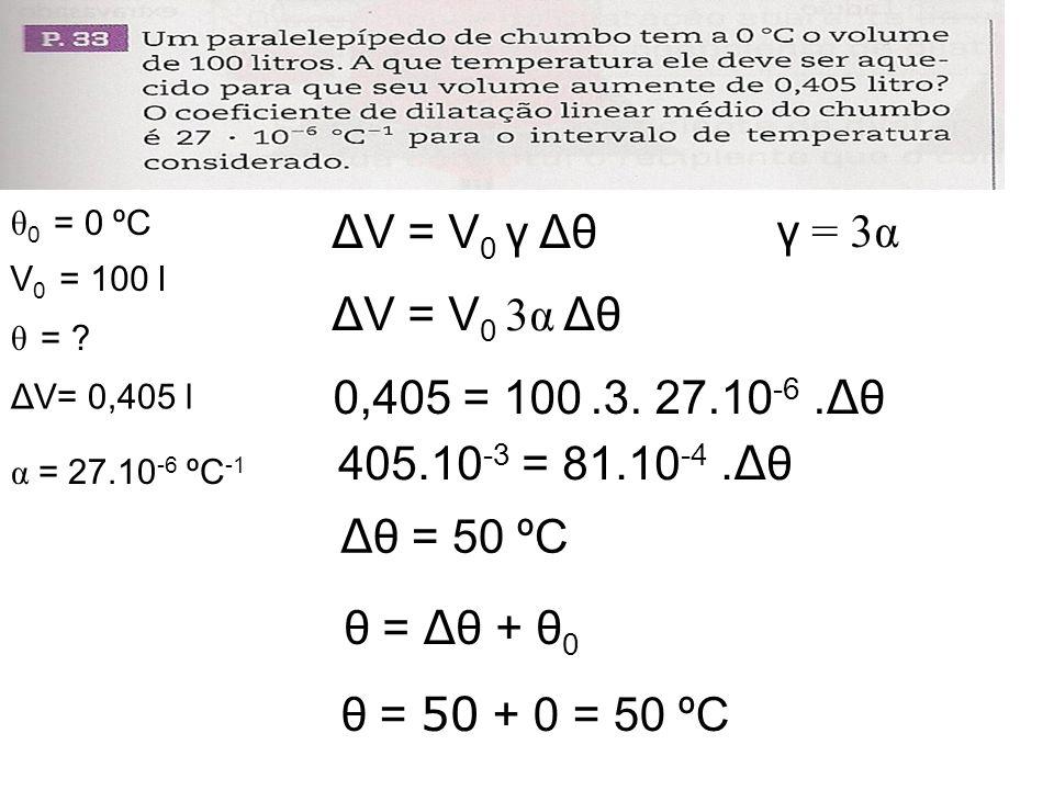 ΔV = V0 γ Δθ γ = 3α ΔV = V0 3α Δθ 0,405 = 100 .3. 27.10-6 .Δθ