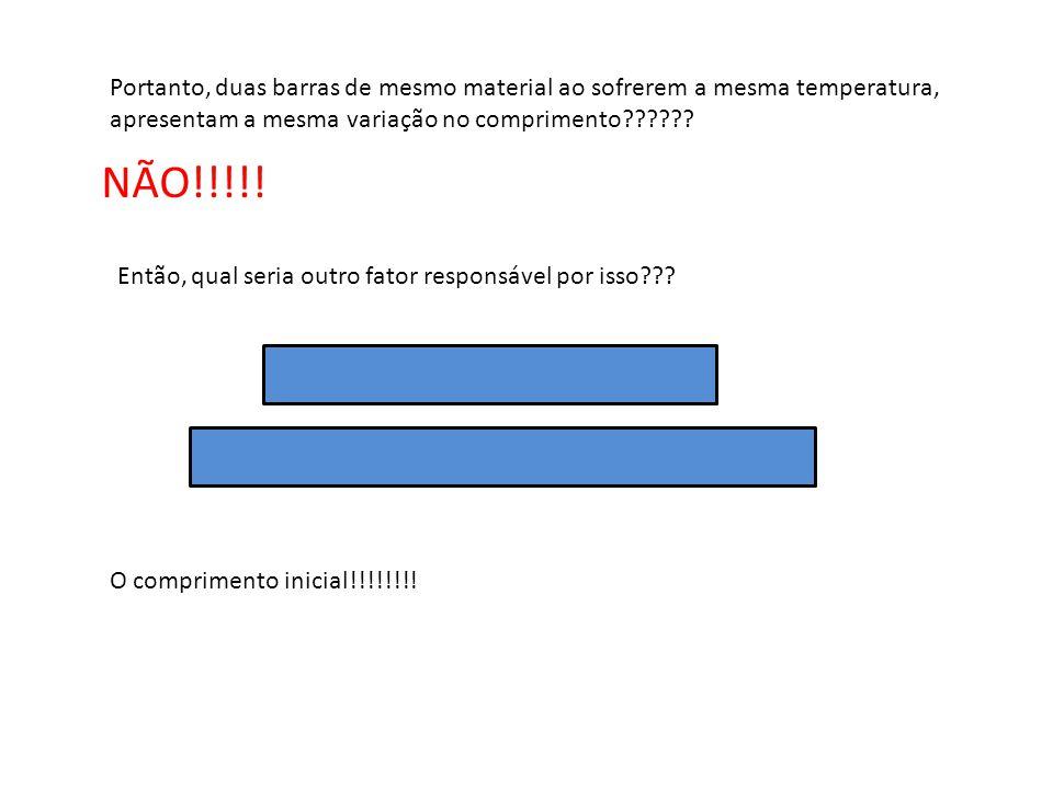 Portanto, duas barras de mesmo material ao sofrerem a mesma temperatura, apresentam a mesma variação no comprimento