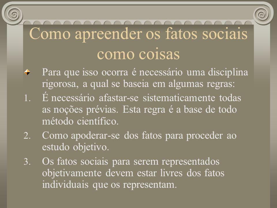 Como apreender os fatos sociais como coisas