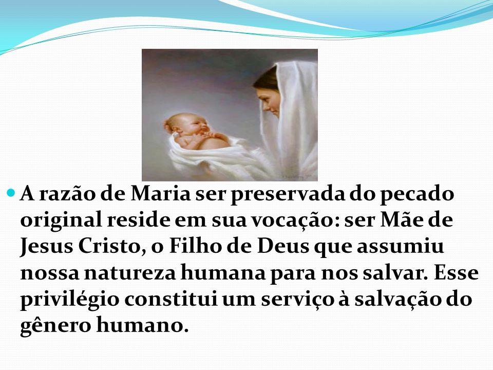 A razão de Maria ser preservada do pecado original reside em sua vocação: ser Mãe de Jesus Cristo, o Filho de Deus que assumiu nossa natureza humana para nos salvar.