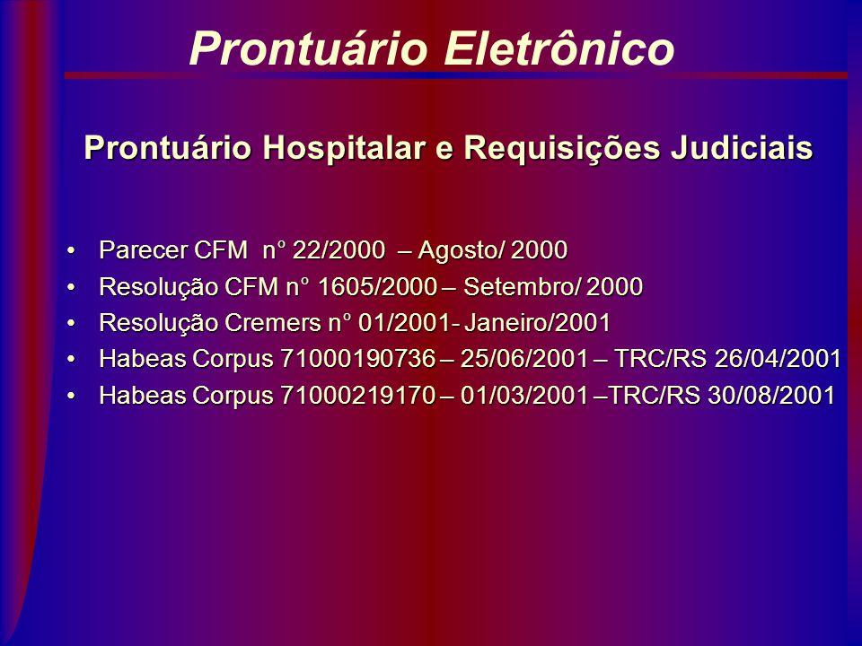 Prontuário Hospitalar e Requisições Judiciais