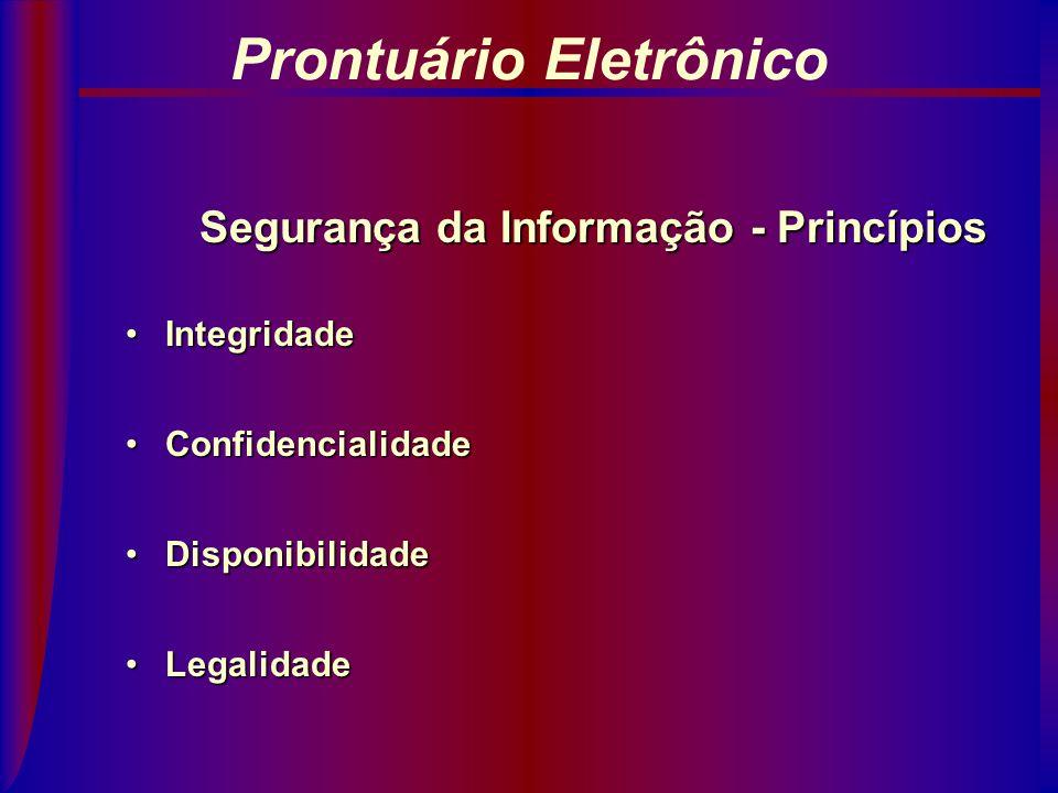 Prontuário Eletrônico Segurança da Informação - Princípios