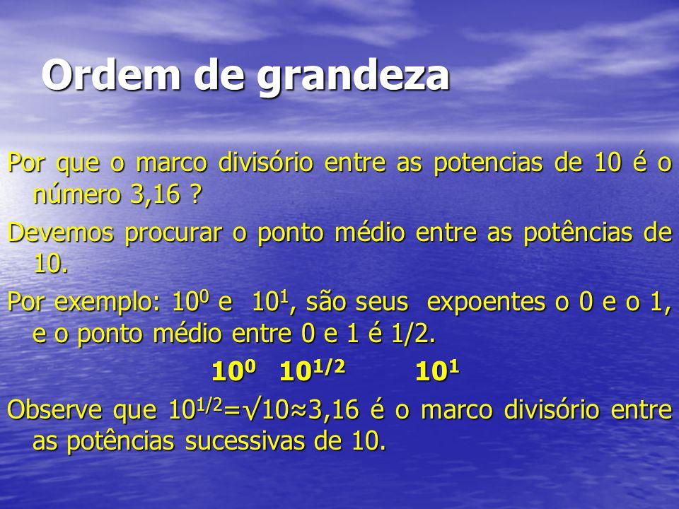 Ordem de grandeza Por que o marco divisório entre as potencias de 10 é o número 3,16 Devemos procurar o ponto médio entre as potências de 10.