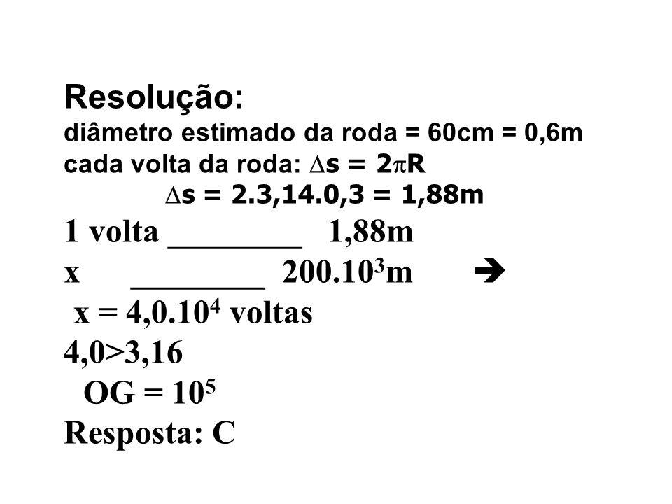 Resolução: 1 volta ________ 1,88m x ________ 200.103m 