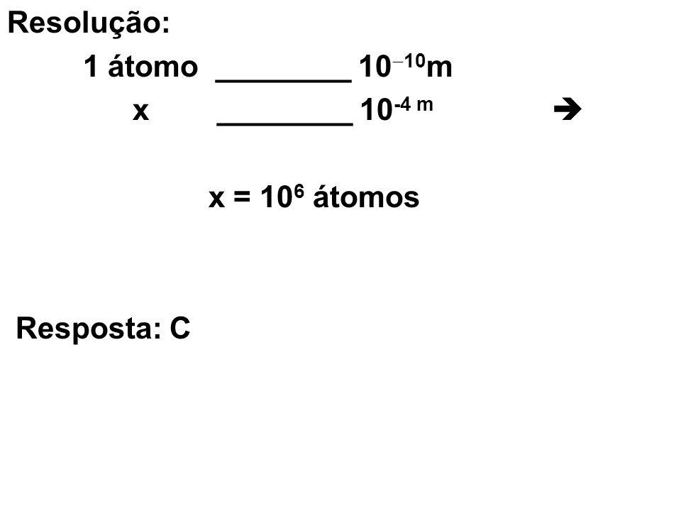 Resolução: 1 átomo ________ 1010m. x ________ 10-4 m  x = 106 átomos.